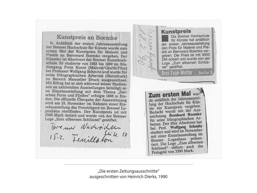 """1990_q_Bilder_Foto_sw_0003_""""Die ersten Zeitungsausschnitte"""" ausgeschnitten von Heinrich Di"""
